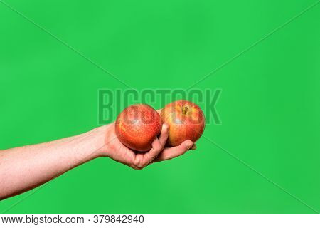 Hand Holding A Two Apple On Green Background
