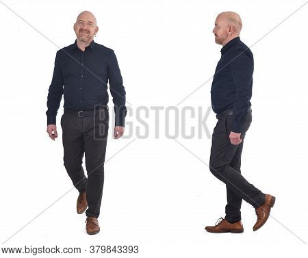 A Man Walking On A White Background
