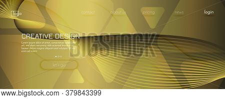 Abstract Vector Curve. Golden Geometric Background. 3d Fluid Line. Minimal Banner. Gold Abstract Vec