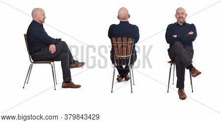 A Man Sitting On A White Background