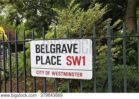 London, Uk - July 9, 2016: Belgrave Place Street Sign In Belgravia District Of London, Uk. London Is