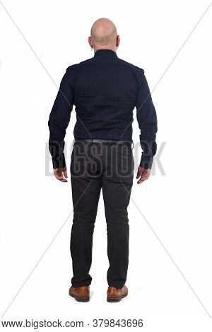 Full Portrait Of A Man From Behind On White Background