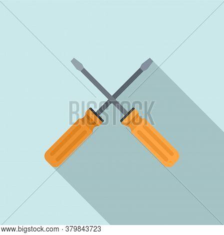Crossed Screwdrivers Icon. Flat Illustration Of Crossed Screwdrivers Vector Icon For Web Design