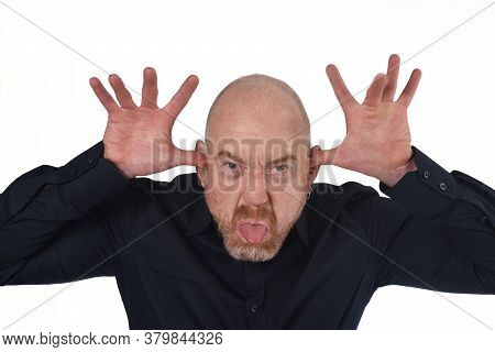 Man Making Fun On A White Background