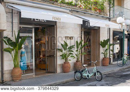 Forte Dei Marmi, Italy - August 4, 2020 - Fendi Retail Store Main Entrance In Forte Dei Marmi, Italy