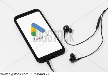 Galicia, Spain; March 25, 2020 : Smart Phone Screen With Google Ads Logo