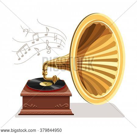 Vintage gramophone with vinyl recording on disc. Gramophone vinyls records retro player isolated on white background. Art and classic music concept. 3D illustration.