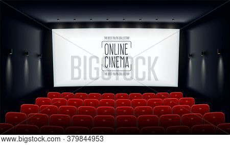 Empty movie theatre. Cinema hall with white screen and red chairs. Modern movies theater for festivals and films presentation. Interior design. Online cinema concept. 3D illustration.