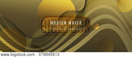 Abstract Vector Curve. Gold Geometric Wallpaper. 3d Fluid Shapes. Technology Pattern. Yellow Abstrac
