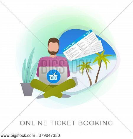 Online Flight Ticket Booking Flat Vector Icon. Mobile Application Or Website Service For Buying, Boo