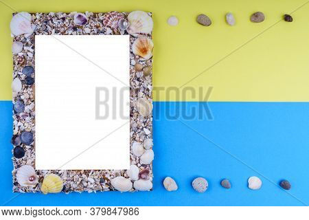 Travel Or Summer Vacation Concept On Blue And Yellow Background. Travel Template