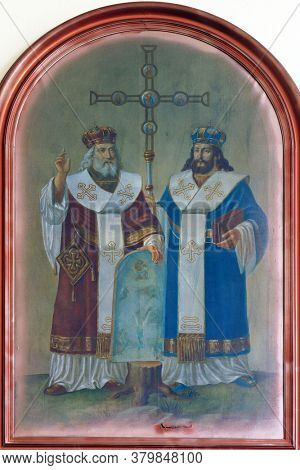 HERCEGOVAC, CROATIA - OCTOBER 01, 2011: Saints Cyril and Methodius altarpiece at Saint Stephen the King Parish Church in Hercegovac, Croatia