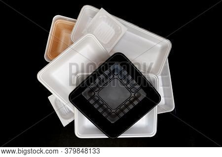 Foam Food Container Tray (styrofoam Tray). Various Styrofoam Trays Of Colors: Orange, White And Blac