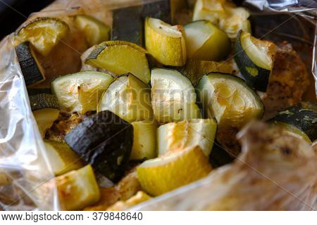 Oven Baked Zucchini Until Golden Brown. A Close-up Of A Fried Zucchini.