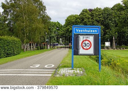 Veenhuizen, The Netherlands - July 29, 2020: City Entrance Sign Of The Dutch Town Of Veenhuizen.