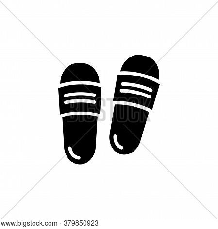 Slipper Vector Icon. Flip Flops Sign. Beach Sneakers Symbol. Home Shoes Simple Logo Black On White.