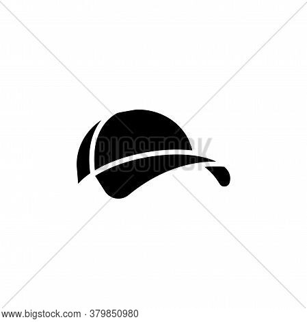 Baseball Cap Vector Icon. Cap Sign. Hat Symbol. Baseball Cap Simple Logo Black On White.