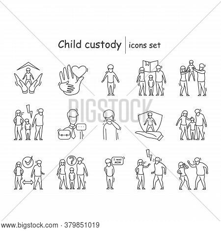 Child Custody Icons Set. Family Relationship And Child Custody Linear Pictograms. Divorce, Orphan Ad