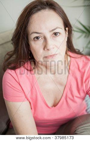 latin woman looking at camera