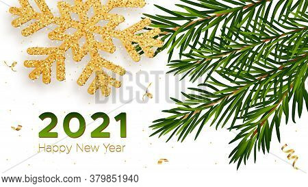 Christmas Background With Shining Gold Snowflake With Branches Of A Fir Tree And Gold Serpentine. Me