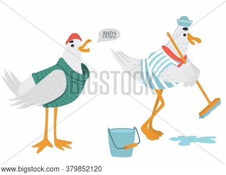 Vector Funny Sailor Seagulls In Pastel Colors. Bird In A Woolen Hat And Knitted Sweater Says Ahoy. S
