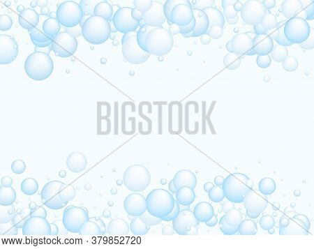 Soap Foam Bubbles Vector Concept, Abstract Shampoo Soapy Effect Background. Water And Detergent Foam