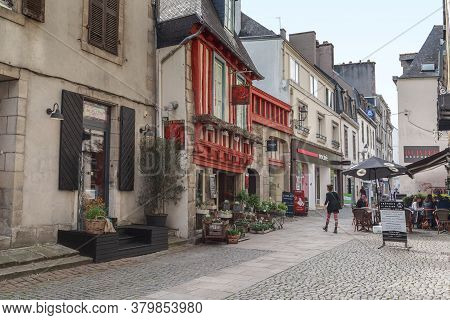 Quimper, France - September 6, 2019: It Is A Preserved Medieval Half-timbered House On Saint Mathieu