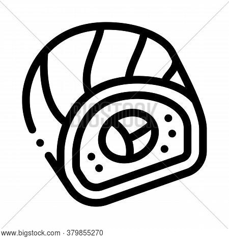 Sushi Roll Japanese Meal Icon Vector. Sushi Roll Japanese Meal Sign. Isolated Contour Symbol Illustr