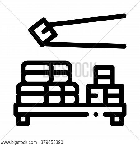 Sushi Roll Eating Icon Vector. Sushi Roll Eating Sign. Isolated Contour Symbol Illustration