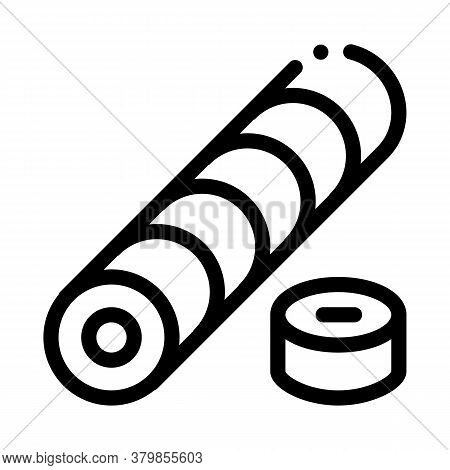 Sushi Roll Cooking Icon Vector. Sushi Roll Cooking Sign. Isolated Contour Symbol Illustration