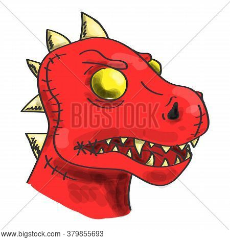 Head Of A Red Zombie Dinosaur Vector Isolated