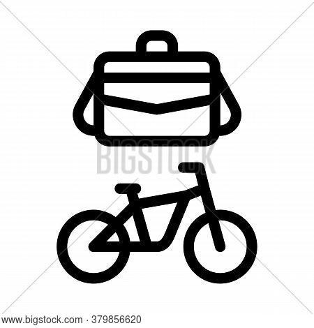 Office Transportation Bicycle And Case Icon Vector. Office Transportation Bicycle And Case Sign. Iso