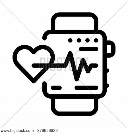 Watch Heartbeat Icon Vector. Watch Heartbeat Sign. Isolated Contour Symbol Illustration