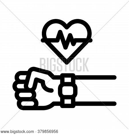 Heart Examination Device Icon Vector. Heart Examination Device Sign. Isolated Contour Symbol Illustr