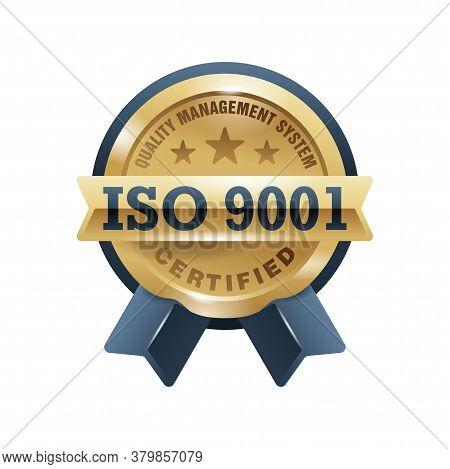 Iso 9001 Emblem - Golden Medal Award With International Quality Management System Guarantee Emblem -