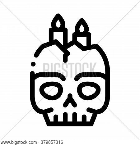 Halloween Skull Candle Icon Vector. Halloween Skull Candle Sign. Isolated Contour Symbol Illustratio