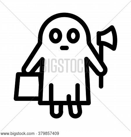 Halloween Ghost Icon Vector. Halloween Ghost Sign. Isolated Contour Symbol Illustration