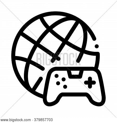 Worldwide Playing Game Icon Vector. Worldwide Playing Game Sign. Isolated Contour Symbol Illustratio