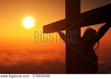 The Christ on a background of the sky ,3d render