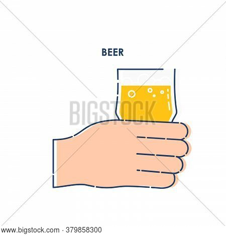 Human Hand Holding A Glass Of Beer. Line Art Design Element On White Background. Fingers Man With Be