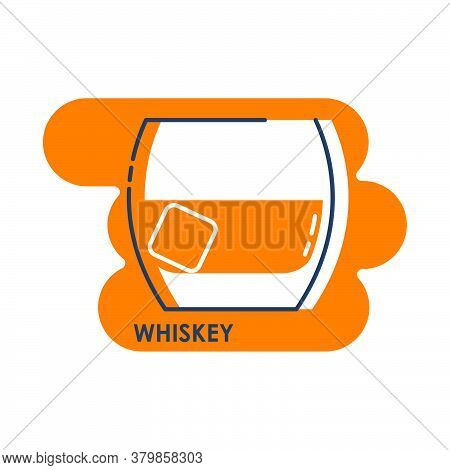 Wineglass Whiskey With Ice Piece Line Art In Flat Style. Isolated On Colored Shape As Background. Re