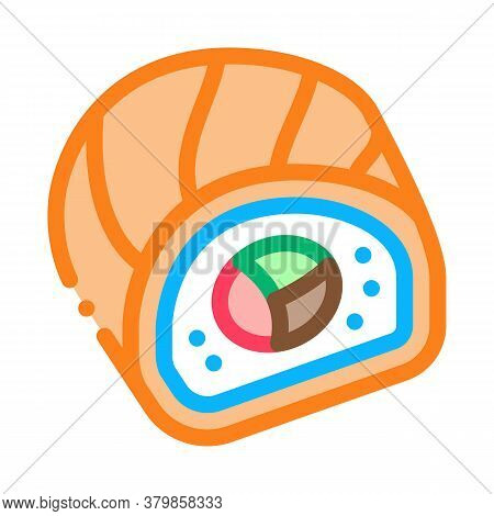 Sushi Roll Japanese Meal Icon Vector. Sushi Roll Japanese Meal Sign. Color Symbol Illustration