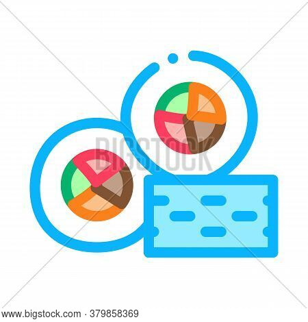 Sushi Roll Tasty Lunch Icon Vector. Sushi Roll Tasty Lunch Sign. Color Symbol Illustration