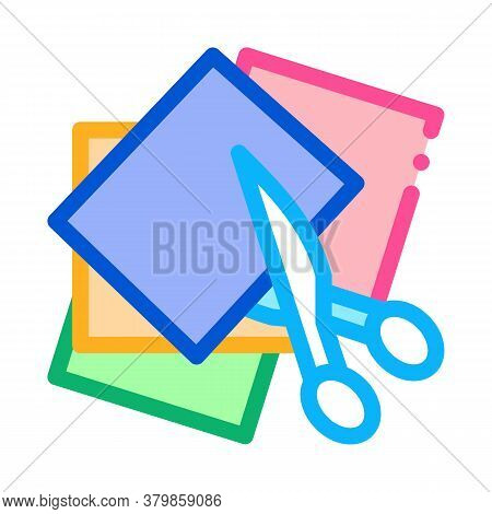 Preschool Education Cut Scissors Icon Vector. Preschool Education Cut Scissors Sign. Color Symbol Il