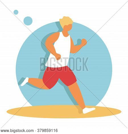 Full Length Portrait Of A Fitness Man Running Isolated On A White Background. Man Running, Flat Vect