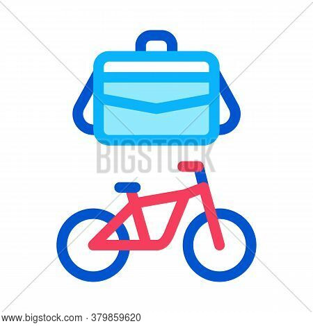 Office Transportation Bicycle And Case Icon Vector. Office Transportation Bicycle And Case Sign. Col