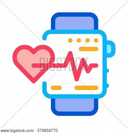 Watch Heartbeat Icon Vector. Watch Heartbeat Sign. Color Symbol Illustration