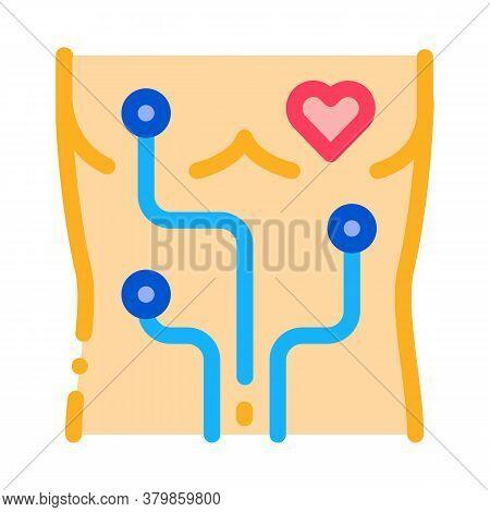 Heart Examination Device Icon Vector. Heart Examination Device Sign. Color Symbol Illustration