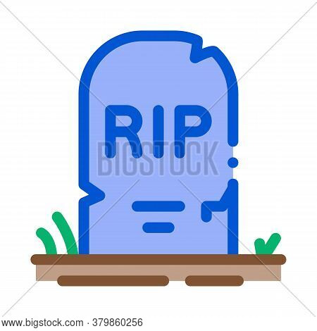 Halloween Rip Tombstone Icon Vector. Halloween Rip Tombstone Sign. Color Symbol Illustration