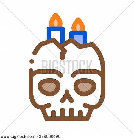 Halloween Skull Candle Icon Vector. Halloween Skull Candle Sign. Color Symbol Illustration